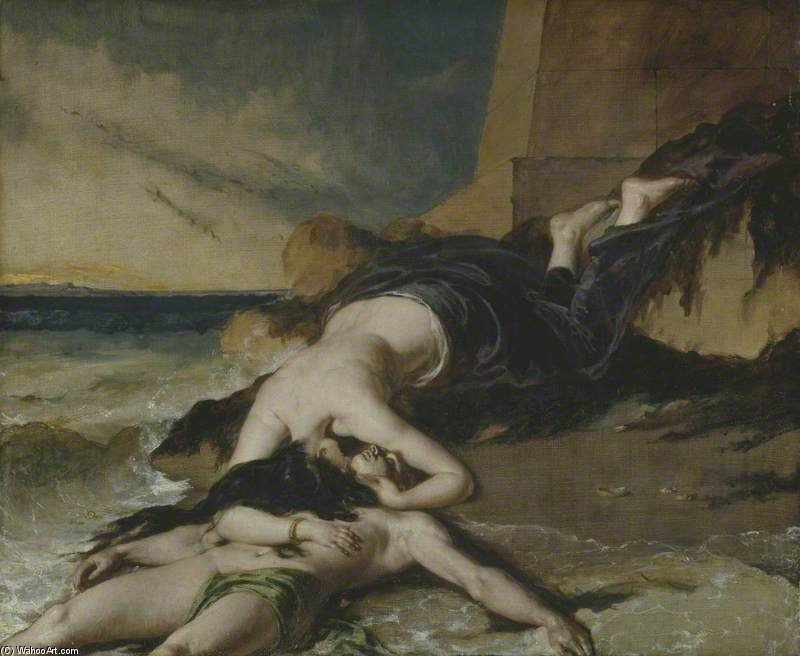 Hero, Having Thrown Herself From The Tower At The Sight Of Leander Drowned, Dies On His Body by William Etty (1787-1849, United Kingdom) | Museum Art Reproductions | ArtsDot.com