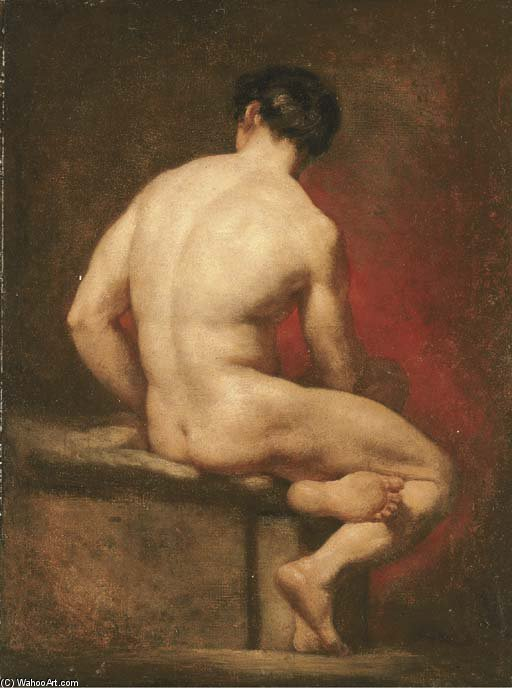 Male Nude From Behind, Seated by William Etty (1787-1849, United Kingdom) | Museum Art Reproductions | ArtsDot.com
