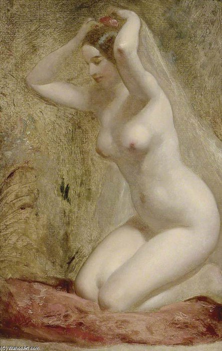 Nude Woman Kneeling - by William Etty (1787-1849, United Kingdom) | Painting Copy | ArtsDot.com