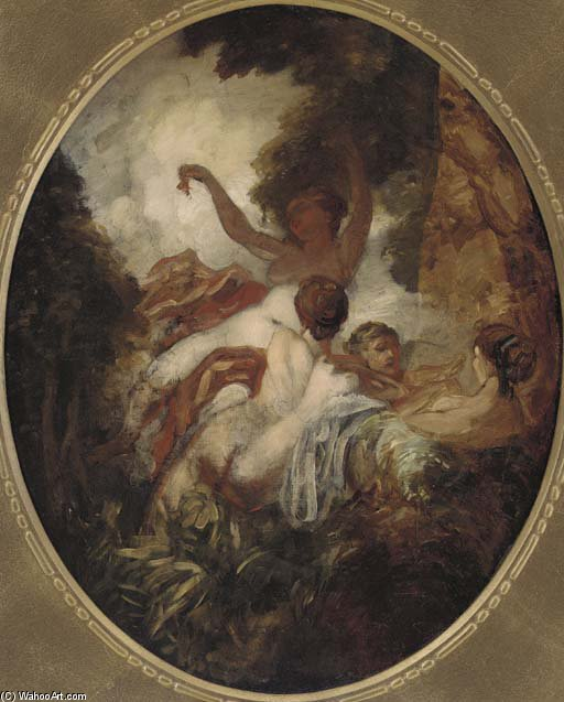 Nymphs In A Wood, In A Painted Oval by William Etty (1787-1849, United Kingdom) | Oil Painting | ArtsDot.com