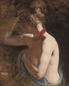 William Etty - Study Of A Female Nude, Half-length, Draped In A Blue Wrap With A Red Scarf Around Her Neck