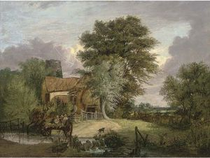 Alfred Stannard - A Wooded Landscape With Figures In A Cart Crossing A Ford, A Cottage And Ruined Tower Beyond