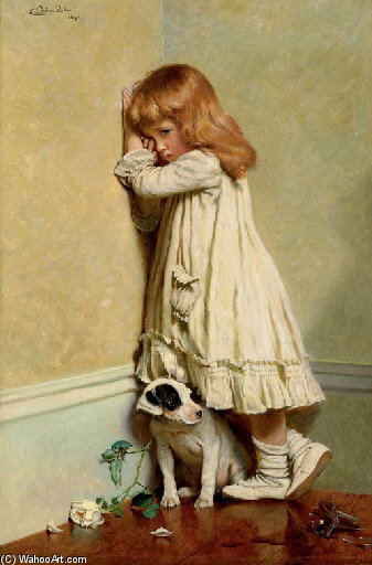 Buy Museum Art Reproductions : In Disgrace - by Charles Burton Barber (1845-1894, United Kingdom) | ArtsDot.com