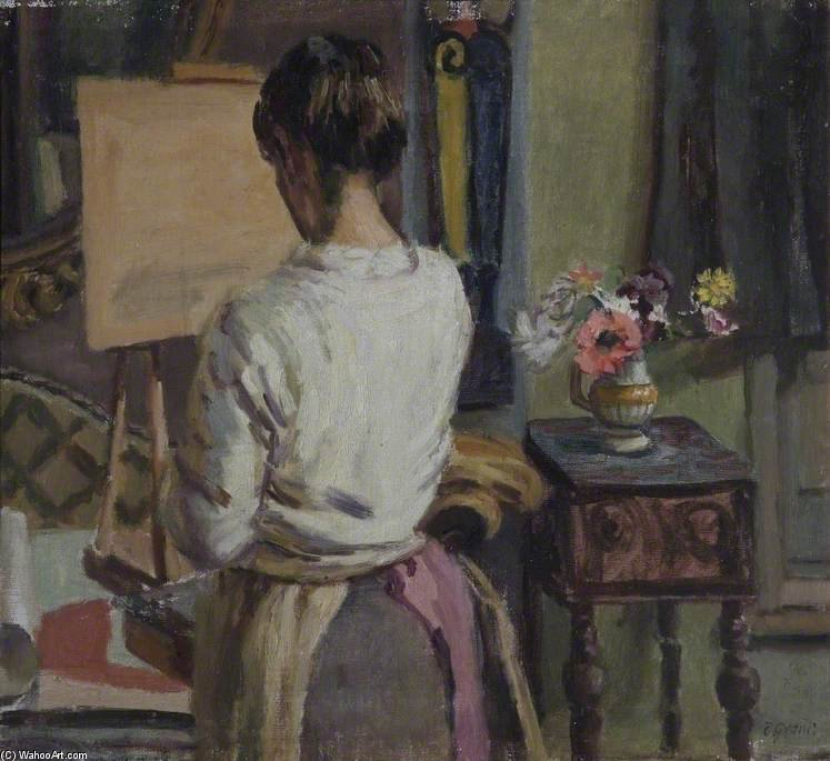 Lady At An Easel by Duncan Grant (1885-1978, Scotland) | Museum Quality Reproductions | ArtsDot.com