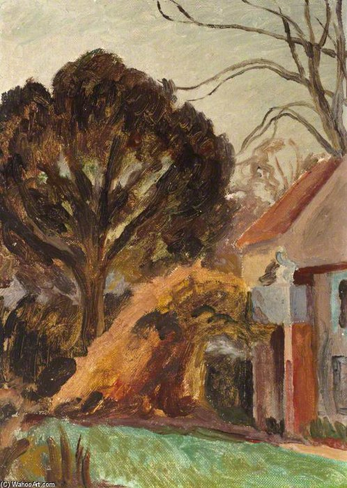 Monk's House, And A Tree In The Garden by Duncan Grant (1885-1978, Scotland)