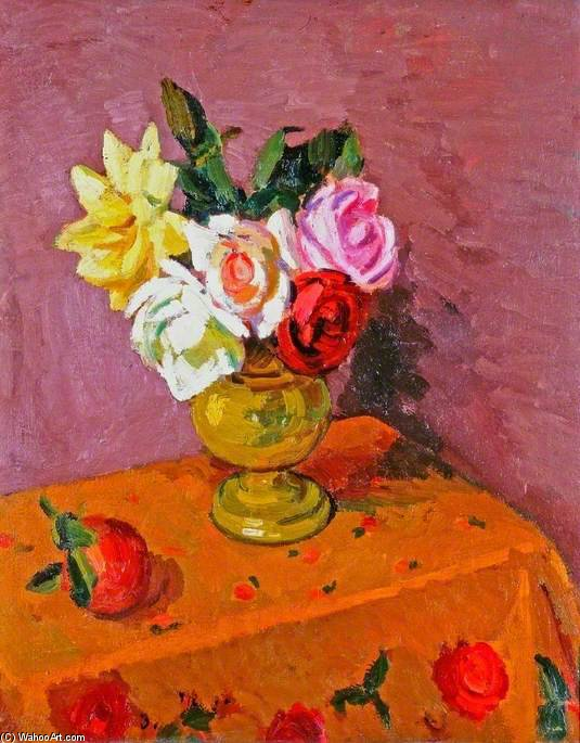 Roses In A Vase by Duncan Grant (1885-1978, Scotland)