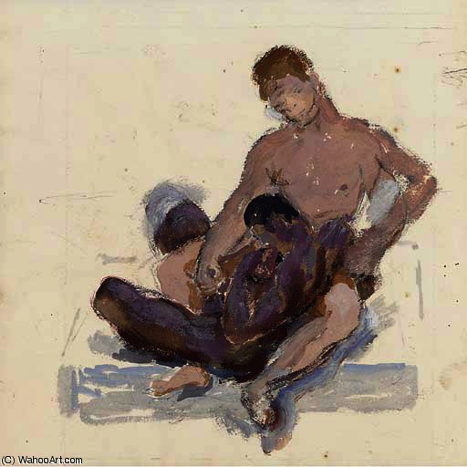 Seated Lovers by Duncan Grant (1885-1978, Scotland) | Museum Art Reproductions | ArtsDot.com