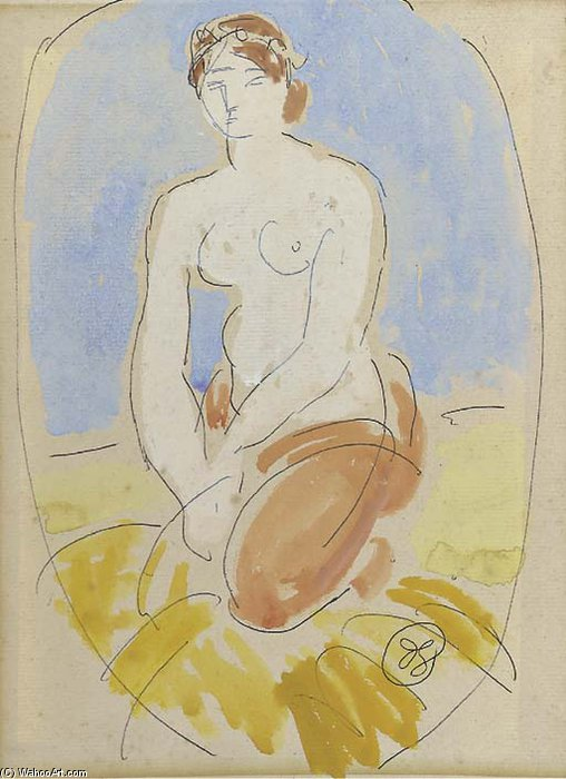 Seated Nude - by Duncan Grant (1885-1978, Scotland)