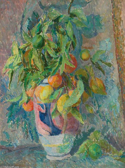 Still Life Of Fruit And Leaves In A Coloured Vase by Duncan Grant (1885-1978, Scotland)