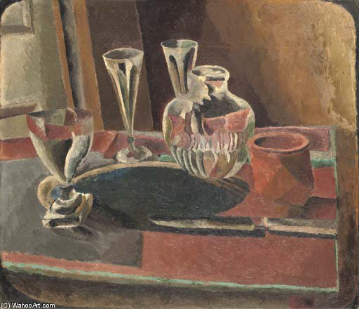 Still Life With Carafe And Glasses by Duncan Grant (1885-1978, Scotland)