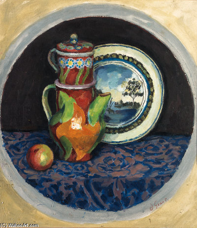 Still Life With Coffee Pot, Apple And Plate by Duncan Grant (1885-1978, Scotland)