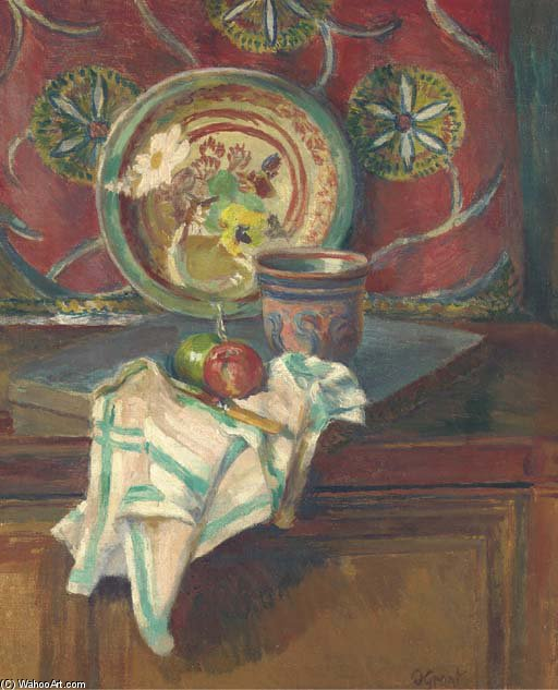 Still Life With Napkin, The Studio, Charleston by Duncan Grant (1885-1978, Scotland)