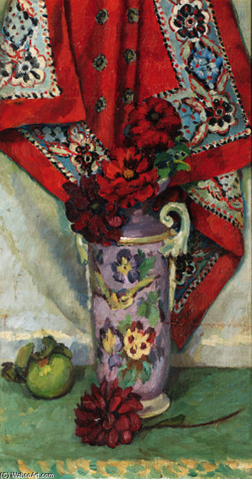 Still Life With Red Dahlias by Duncan Grant (1885-1978, Scotland)