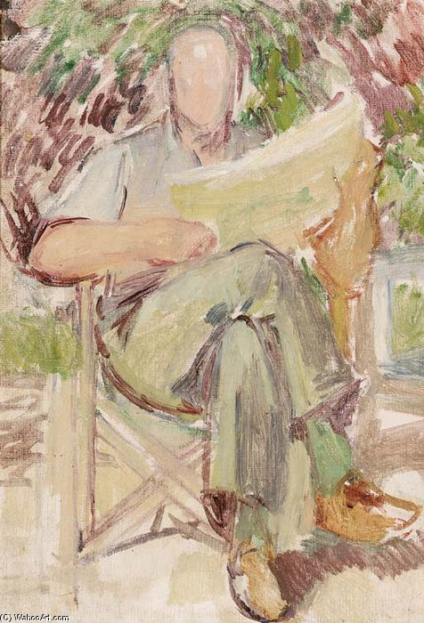 Study Of Clive Bell At Charleston Manor by Duncan Grant (1885-1978, Scotland)