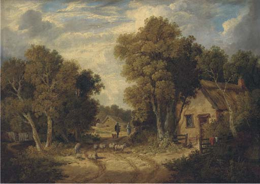 A Suffolk Lane by John Berney Ladbrooke (1794-1842, United Kingdom) | Museum Art Reproductions John Berney Ladbrooke | ArtsDot.com
