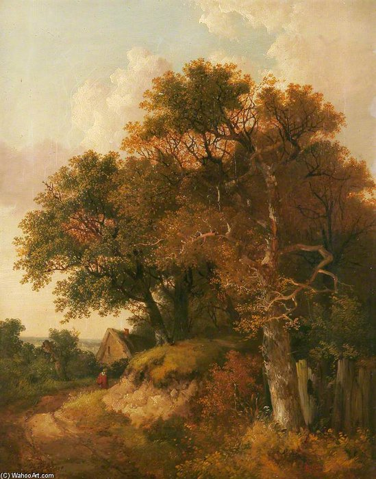 Cottage And Trees by John Berney Ladbrooke (1794-1842, United Kingdom) | Museum Quality Copies John Berney Ladbrooke | ArtsDot.com