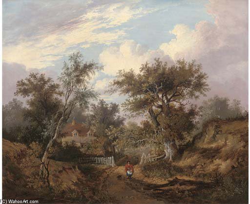 Figure By A Cottage In A Wooded Landscape by John Berney Ladbrooke (1794-1842, United Kingdom) | Paintings Reproductions John Berney Ladbrooke | ArtsDot.com