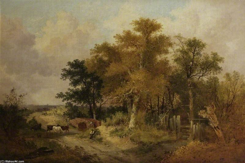 Landscape With Figures And Cattle by John Berney Ladbrooke (1794-1842, United Kingdom) | Reproductions John Berney Ladbrooke | ArtsDot.com