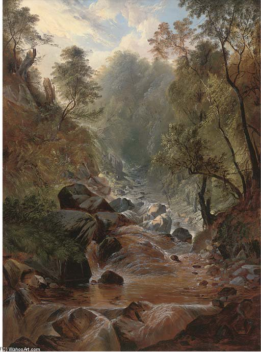 Stockghyll Force, Ambleside by John Berney Ladbrooke (1794-1842, United Kingdom) | Museum Art Reproductions John Berney Ladbrooke | ArtsDot.com