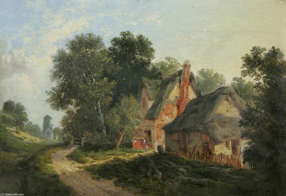 Thatched Farm Buildings By A Woodland Path by John Berney Ladbrooke (1794-1842, United Kingdom) | Museum Quality Copies John Berney Ladbrooke | ArtsDot.com