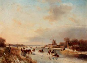 Nicolaas Johannes Roosenboom - Numerous Skaters On A Frozen Waterway