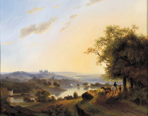 Nicolaas Johannes Roosenboom - Rhenish Landscape With Travellers On A Sandy Track And A Castle In The Distance