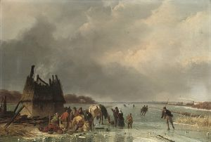 Nicolaas Johannes Roosenboom - Skaters By A Burnt Out Hut