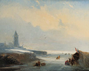 Nicolaas Johannes Roosenboom - Skaters Reposing At A Koek En Zopie Stand On A Frozen Waterway Near A City