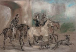 Francis Grant - A Preparatory Sketch For -queen Victoria Riding Out At Windsor Castle-