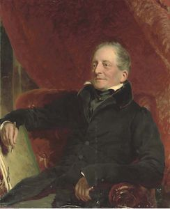 Francis Grant - Portrait Of An Artist, Seated Three-quarter-length, In A Black Coat, Holding A Pen And Folio