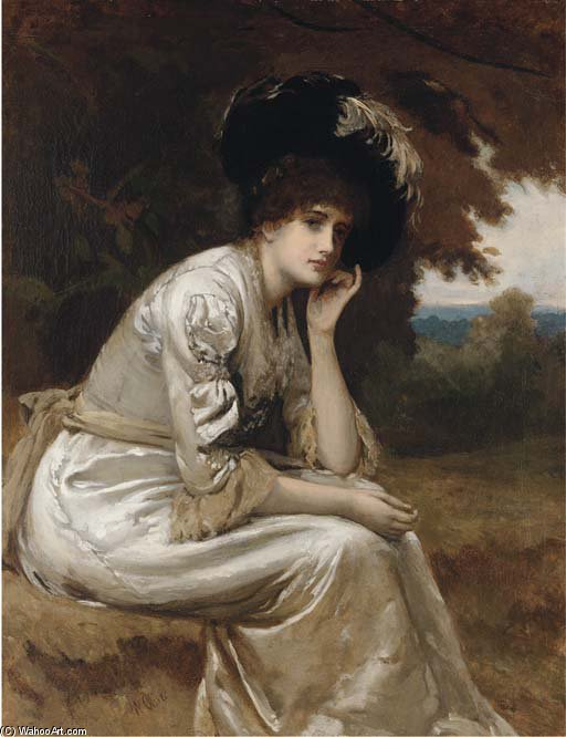 A Thoughtful Moment by William Oliver (1805-1853, United Kingdom) | ArtsDot.com