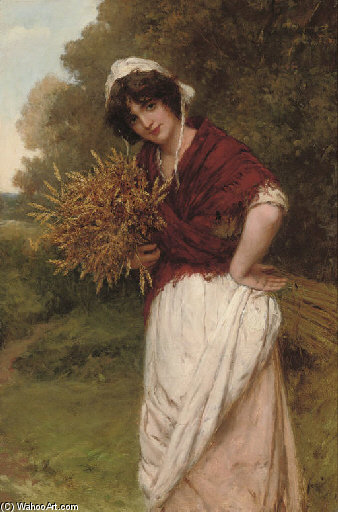 Gathering The Corn by William Oliver (1805-1853, United Kingdom)