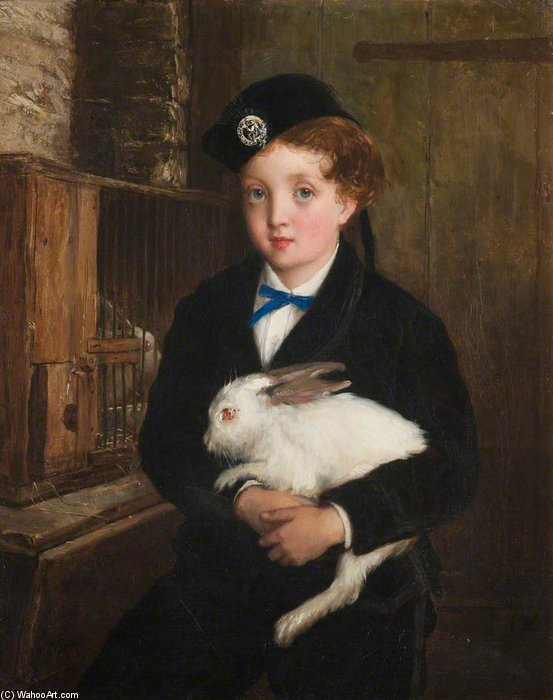 Girl Holding A Rabbit by William Oliver (1805-1853, United Kingdom)