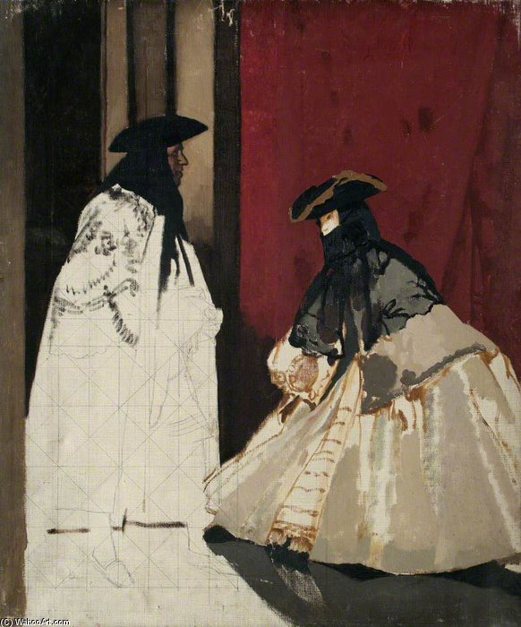 Masked Figures by William Newenham Montague Orpen (1878-1931, Ireland)