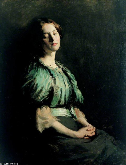 Portrait Of A Girl Wearing A Green Dress by William Newenham Montague Orpen (1878-1931, Ireland)