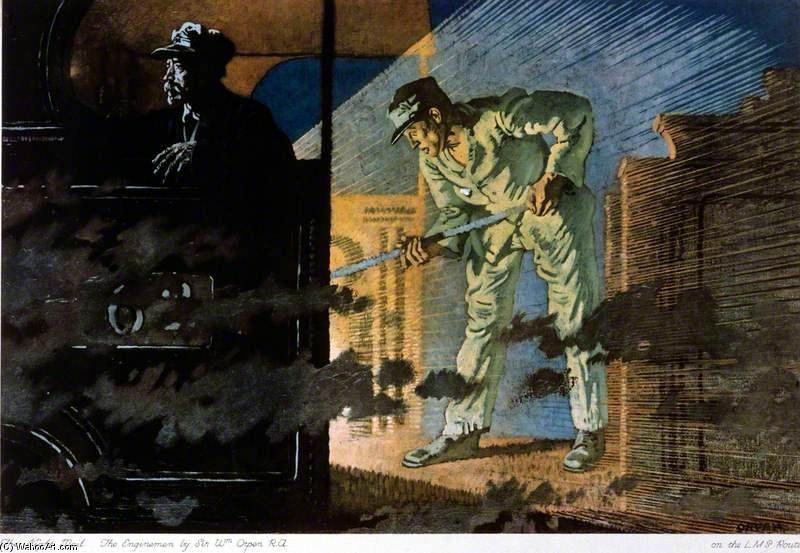 The Night Mail - The Engine Men by William Newenham Montague Orpen (1878-1931, Ireland) | Painting Copy | ArtsDot.com