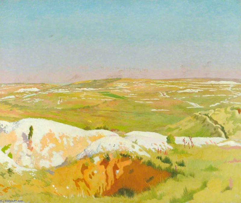 The Somme - A Clear Day; View From The British Trenches Opposite La Boisselle, Showing The German Front Line And Mine Craters by William Newenham Montague Orpen (1878-1931, Ireland)