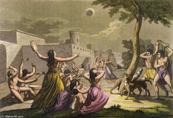 Terror Of The Peruvians During An Eclipse Of The Moon by Gallo Gallina (1796-1874, Italy)