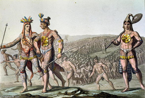 The Chiefs Of Florida On Their Way To War by Gallo Gallina (1796-1874, Italy)