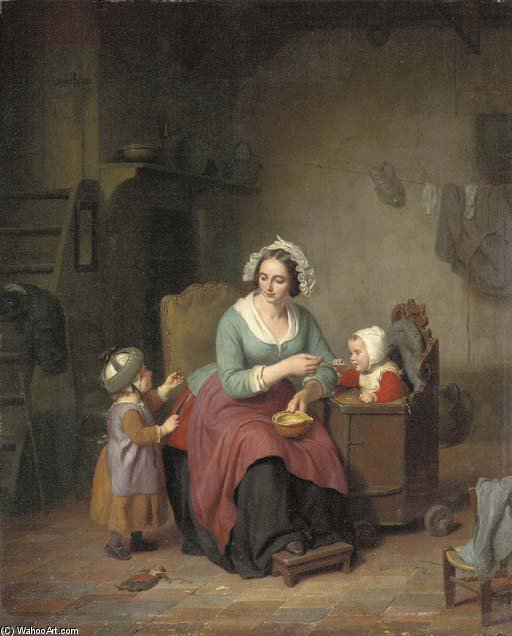 Feeding The Children by Basile De Loose (1809-1885, Belgium)