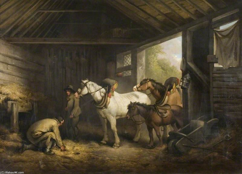 Order Art Reproduction : Interior Of A Stable - by George Morland (1763-1804, United Kingdom) | ArtsDot.com