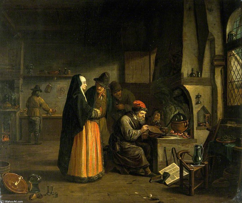 A Lady Visiting An Alchemist In His Laboratory by Jan Josef Horemans The Elder (1682-1759, Belgium) | Oil Painting | ArtsDot.com