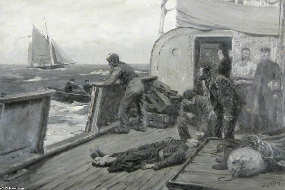 Casualty At Sea by Joseph Nash The Younger (1835-1922, United Kingdom)