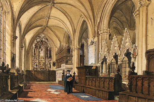 Interior Of A Church by Joseph Nash The Younger (1835-1922, United Kingdom)