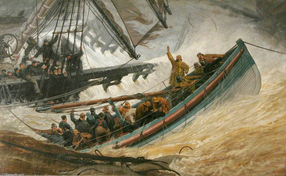 Lifeboat 'james Pearce' Rescuing Crew From A Shipwreck by Joseph Nash The Younger (1835-1922, United Kingdom)