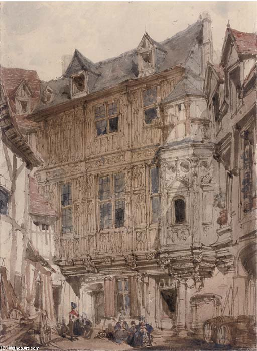 Backstreets Of Rouen by Joseph Nash The Younger (1835-1922, United Kingdom)