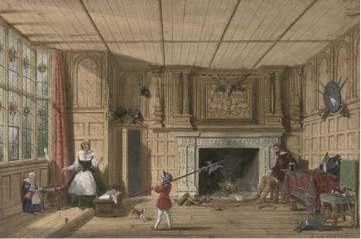 Earl Of Leicester In The Trophy Room At Kenilworth by Joseph Nash The Younger (1835-1922, United Kingdom)
