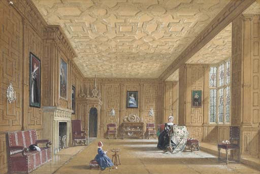 Oak Room At Broughton Castle Near Banbury, Oxfordshire by Joseph Nash The Younger (1835-1922, United Kingdom)