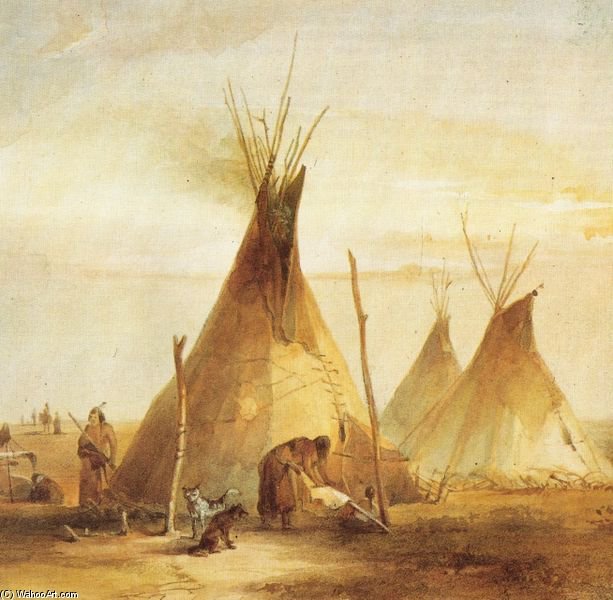 Order Paintings Reproductions | Sioux Tipis by Karl Bodmer (1809-1893, Switzerland) | ArtsDot.com