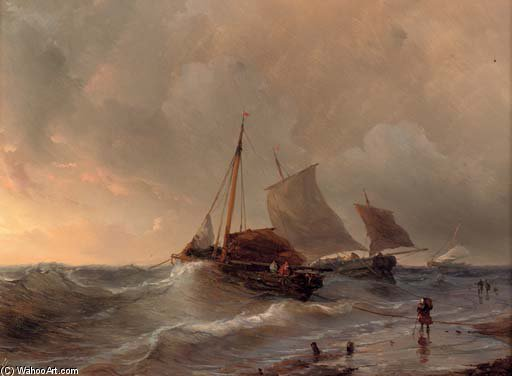 A Choppy Surf At Sunset by Louis Meijer (1809-1866, Netherlands)